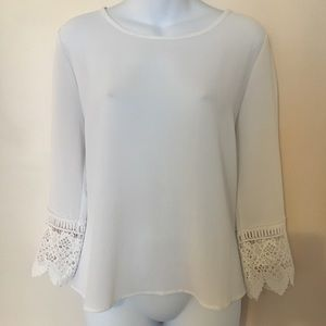 Large A'GACI White Crepe Blouse with Crochet Cuffs